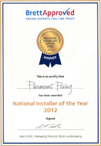 Brett national paving installer of the year 2012